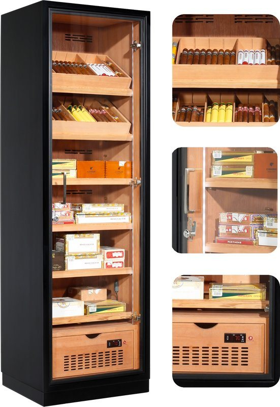Ravenna 175 Deluxe Humidor Cabinet Black