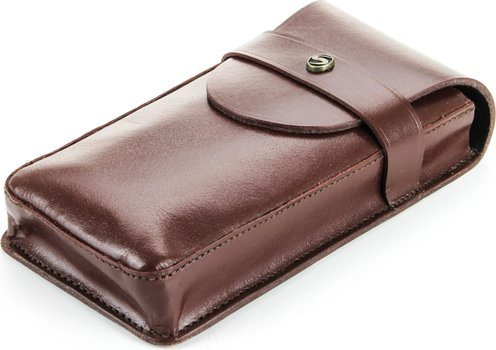 Buffalo Leather Cigar Case for 3 Cigars Brown