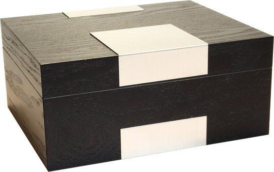 Real Wood Veneer Humidor Frosted Black