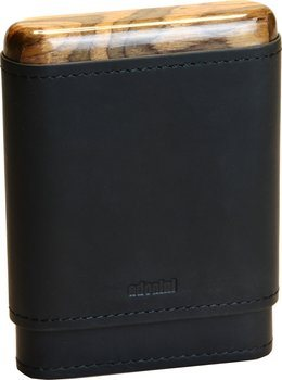 adorini genuine leather cigar case black 3-5 cigars wooden top