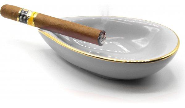adorini Ceramic Cigar Ashtray Leaf White