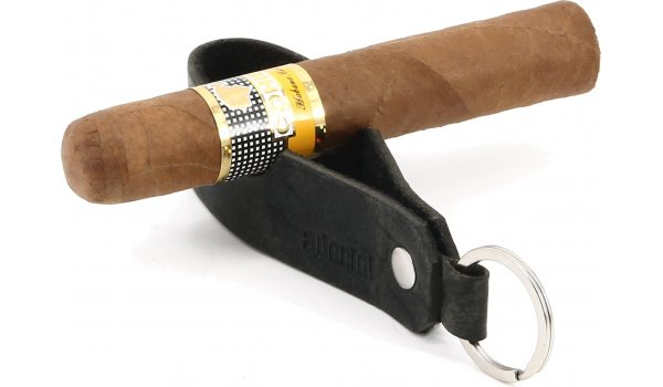 adorini Cigar & Pipe Rest Leather Keychain Black