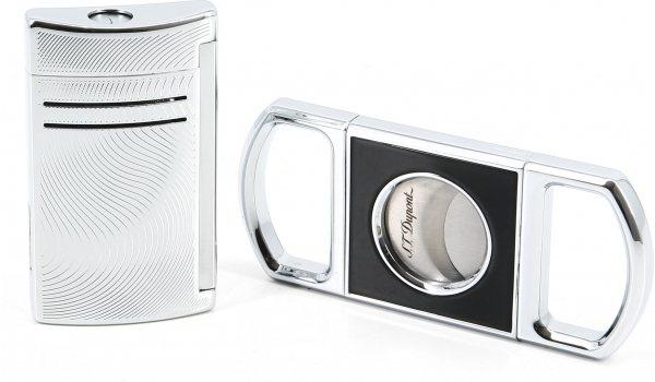 S.T. Dupont Gift Set Cigar Cutter and Maxijet Vibration Chrome
