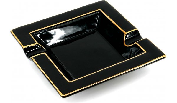 Cigar Ashtray Quadratic Gold Painted Black